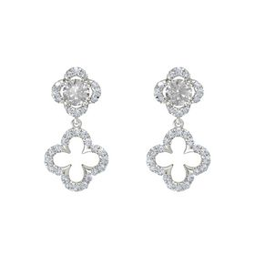 Round Rock Crystal 14K White Gold Earring with Diamond
