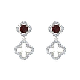 Round Red Garnet 14K White Gold Earring with Diamond