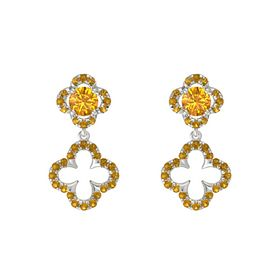 Round Citrine 14K White Gold Earring with Citrine