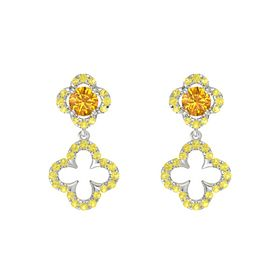Round Citrine 14K White Gold Earring with Yellow Sapphire