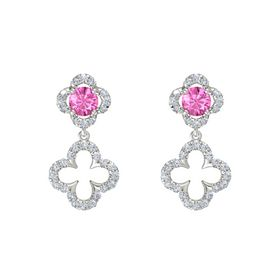 Round Pink Sapphire 14K White Gold Earring with Diamond