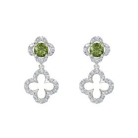 Round Green Tourmaline 14K White Gold Earrings with Diamond