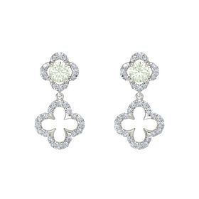 Round Green Amethyst 14K White Gold Earring with Diamond
