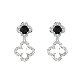 Round Black Onyx 14K White Gold Earring with White Sapphire and Diamond