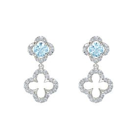 Round Aquamarine 14K White Gold Earrings with Diamond