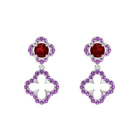 Round Ruby 14K White Gold Earring with Amethyst