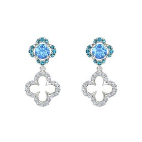 Round Blue Topaz 14K White Gold Earring with Diamond and London Blue Topaz