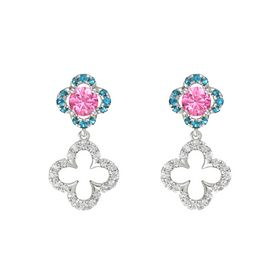 Round Pink Tourmaline 14K White Gold Earring with White Sapphire and London Blue Topaz
