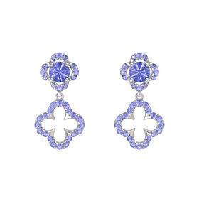 Round Tanzanite 14K White Gold Earring with Tanzanite