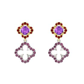 Round Amethyst 14K Yellow Gold Earring with Rhodolite Garnet and Ruby