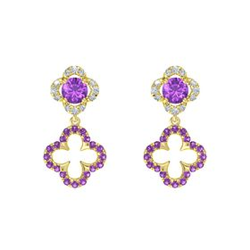 Round Amethyst 14K Yellow Gold Earring with Amethyst and Diamond