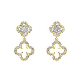 Round Rock Crystal 14K Yellow Gold Earring with Rock Crystal and Diamond