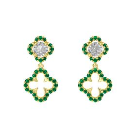 Round Rock Crystal 14K Yellow Gold Earring with Emerald