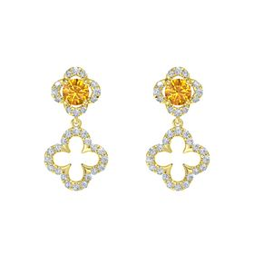 Round Citrine 14K Yellow Gold Earring with Diamond