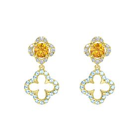 Round Citrine 14K Yellow Gold Earrings with Aquamarine & Diamond
