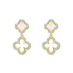 Round Rose Quartz 14K Yellow Gold Earring with Diamond