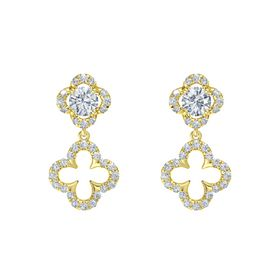 Round Moissanite 14K Yellow Gold Earring with Diamond