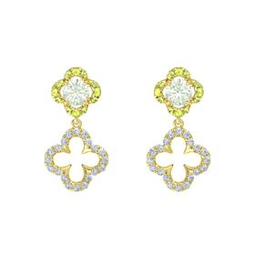Round Green Amethyst 14K Yellow Gold Earring with Diamond and Peridot
