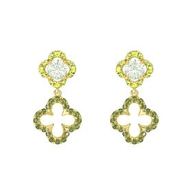 Round Green Amethyst 14K Yellow Gold Earring with Green Tourmaline and Peridot