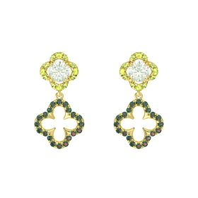 Round Green Amethyst 14K Yellow Gold Earring with Alexandrite and Peridot