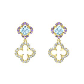 Round Aquamarine 14K Yellow Gold Earring with Diamond and Iolite