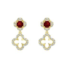 Round Ruby 14K Yellow Gold Earrings with Diamond