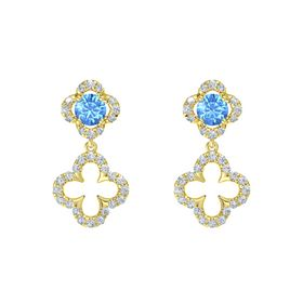 Round Blue Topaz 14K Yellow Gold Earring with Diamond