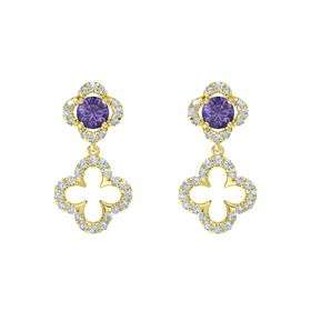 Round Iolite 14K Yellow Gold Earring with Diamond