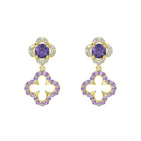 Round Iolite 14K Yellow Gold Earring with Iolite and Diamond