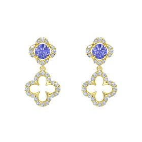 Round Tanzanite 14K Yellow Gold Earring with Diamond