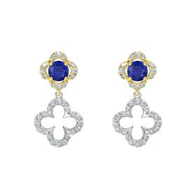 Round Blue Sapphire 14K Yellow Gold Earring with Diamond