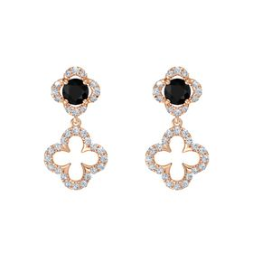 Round Black Onyx 18K Rose Gold Earrings with Diamond