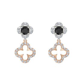 Round Black Diamond 18K White Gold Earring with Diamond