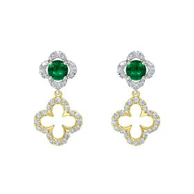 Round Emerald 18K White Gold Earring with Diamond