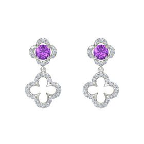 Round Amethyst 18K White Gold Earring with Diamond