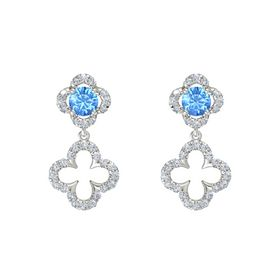 Round Blue Topaz 18K White Gold Earring with Diamond