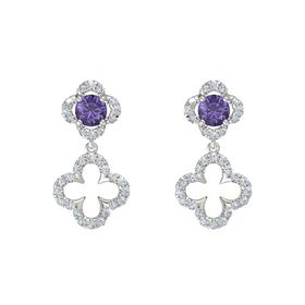 Round Iolite 18K White Gold Earring with Diamond