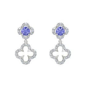 Round Tanzanite 18K White Gold Earring with Diamond