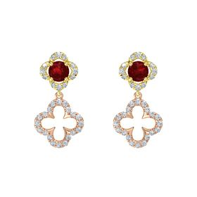 Round Ruby 18K Yellow Gold Earrings with Diamond
