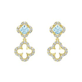 Round Aquamarine 18K Yellow Gold Earring with Diamond