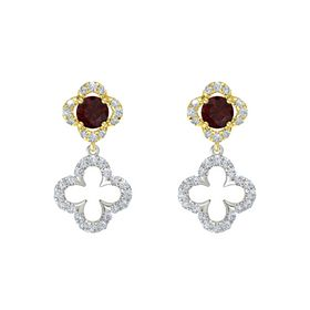 Round Red Garnet 18K Yellow Gold Earring with Diamond
