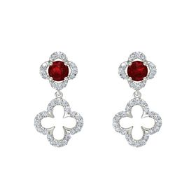 Round Ruby Platinum Earring with Diamond