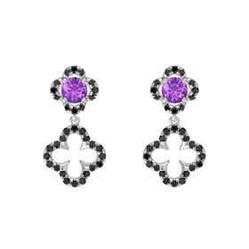 Round Amethyst Platinum Earring with Black Diamond