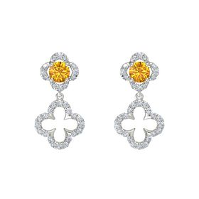 Round Citrine Platinum Earring with Diamond