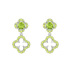 Round Peridot Platinum Earring with Peridot