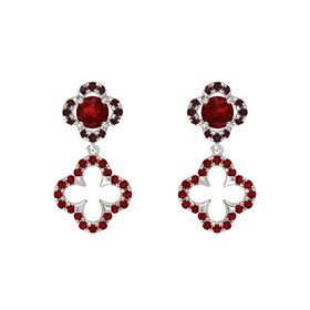 Round Ruby Platinum Earring with Ruby and Red Garnet