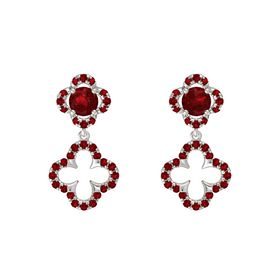 Round Ruby Platinum Earring with Ruby