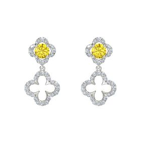 Round Yellow Sapphire Platinum Earring with Diamond