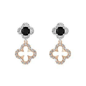 Round Black Onyx Sterling Silver Earring with Rock Crystal