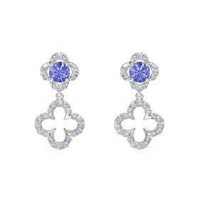 Round Tanzanite Sterling Silver Earrings with Diamond
